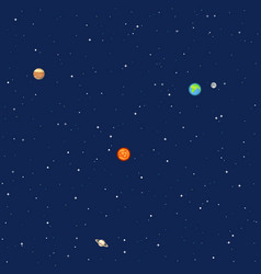 Planets in space solar system background vector