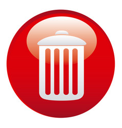 Red can trash emblem icon vector