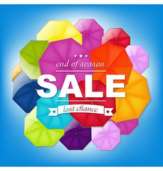 Sale Poster With Color Umbrellas vector image