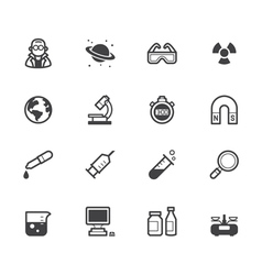 Science element black icon set on white background vector
