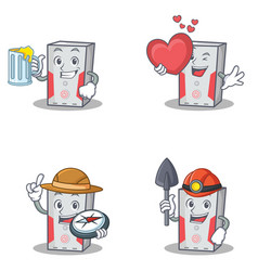 Set of computer character with juice love explorer vector