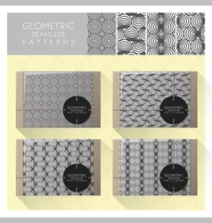 Set of geometric seamless pattern 4 vector
