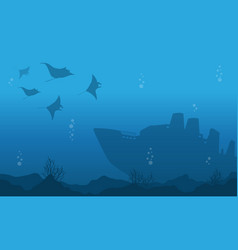 Silhouette of underwater with big ship and fish vector