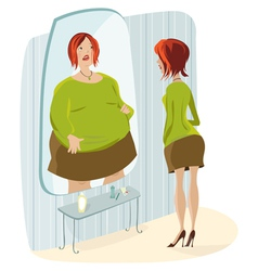 slim lady and her fat reflection vector image vector image