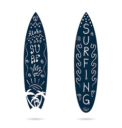 Surfboard cartoon icon in blue and white color vector