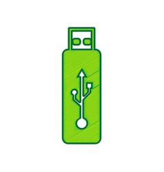 usb flash drive sign lemon vector image