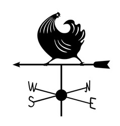 weathervane - black running rooster1 vector image