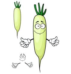 White radish or daikon vegetable cartoon character vector
