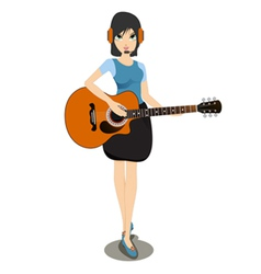 Woman playing the guitar vector