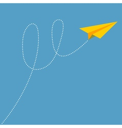 Yellow origami paper plane dash line track with vector