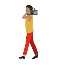 young man walk music radio player vector image vector image