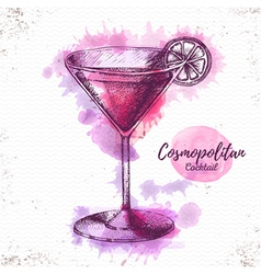 Watercolor cocktail cosmopolitan sketch vector