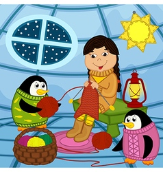 Eskimo girl knits sweater for penguin vector image