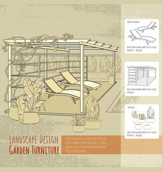 Lounge chairs patio pergola and flowers in po vector