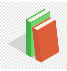 Two books red and green isometric icon vector