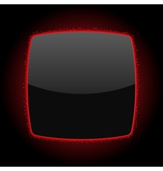 Black background or button with red light and vector
