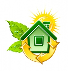 Eco house symbol vector