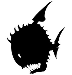 Black graphic silhouette round fish with spikes vector