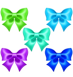 Silk bows in cool colors vector