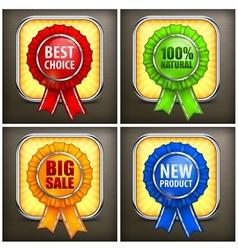 Set of color award labels on vector image