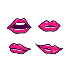 lips set with pink makeup in cartoon style vector image