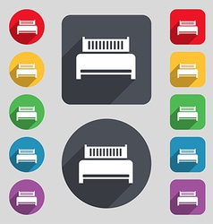 Hotel bed icon sign a set of 12 colored buttons vector