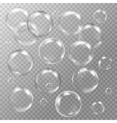 set of white transparent glass sphere with glares vector image