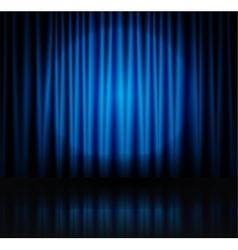 Spotlight on blue stage curtain vector image