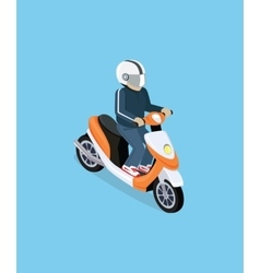 Isometric 3d motorbiker with motorcycle vector