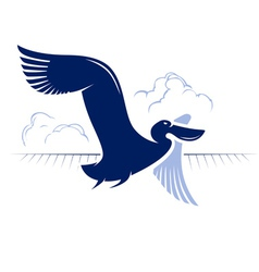 flight bird logotype duck pelican vector image