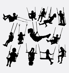 Swing children playing silhouette vector