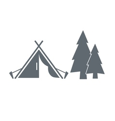 Tourist tent near tree icon vector
