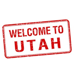 Welcome to utah red grunge square stamp vector