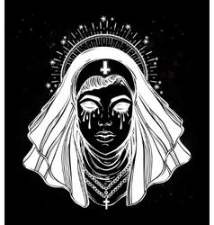 A nun with tears in her eyes vector