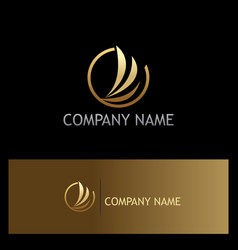 abstract wing fly gold company logo vector image