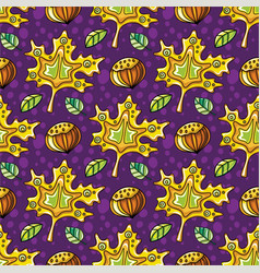 autumn seamless pattern with leaves and hazelnut vector image vector image