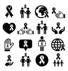 Awareness ribbons with people - black icons vector image vector image