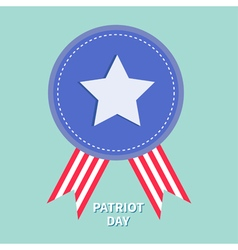 Blue badge with ribbons award icon star and strip vector