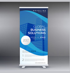 Blue roll up standee banner template design vector