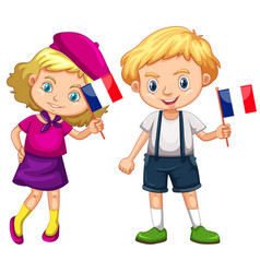 Boy and girl holding flag of france vector