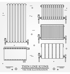 Central heating radiators icons thin line for web vector
