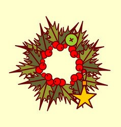 christmas wreath icon garland hand drawn holiday vector image