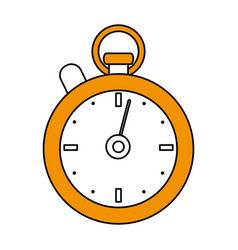 Color silhouette cartoon yellow stopwatch icon vector