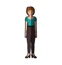 Colorful silhouette of woman with blue blouse and vector
