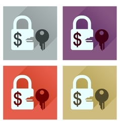 Concept of flat icons with long shadow key lock vector