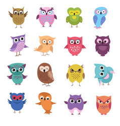 cute cartoon owl characters set vector image vector image
