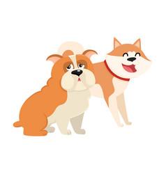 Cute funny dog characters - japanese akita inu vector