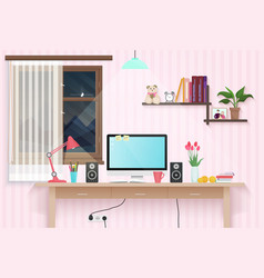 Female teenager room with workplace sweet girl vector