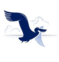 flight bird logotype duck pelican vector image