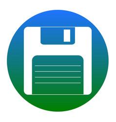 Floppy disk sign white icon in bluish vector